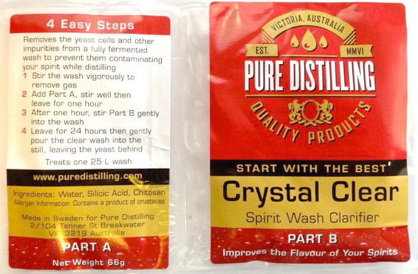 Pure Distilling crystal clear spirit wash clarifier