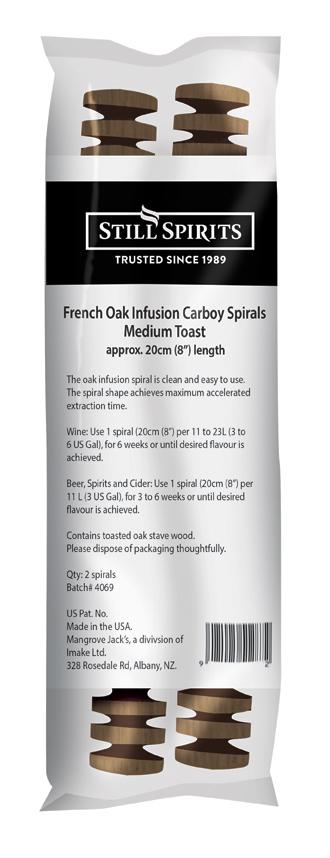 Still Spirits Carboy Infusion Spiral -  French Medium Toast Oak